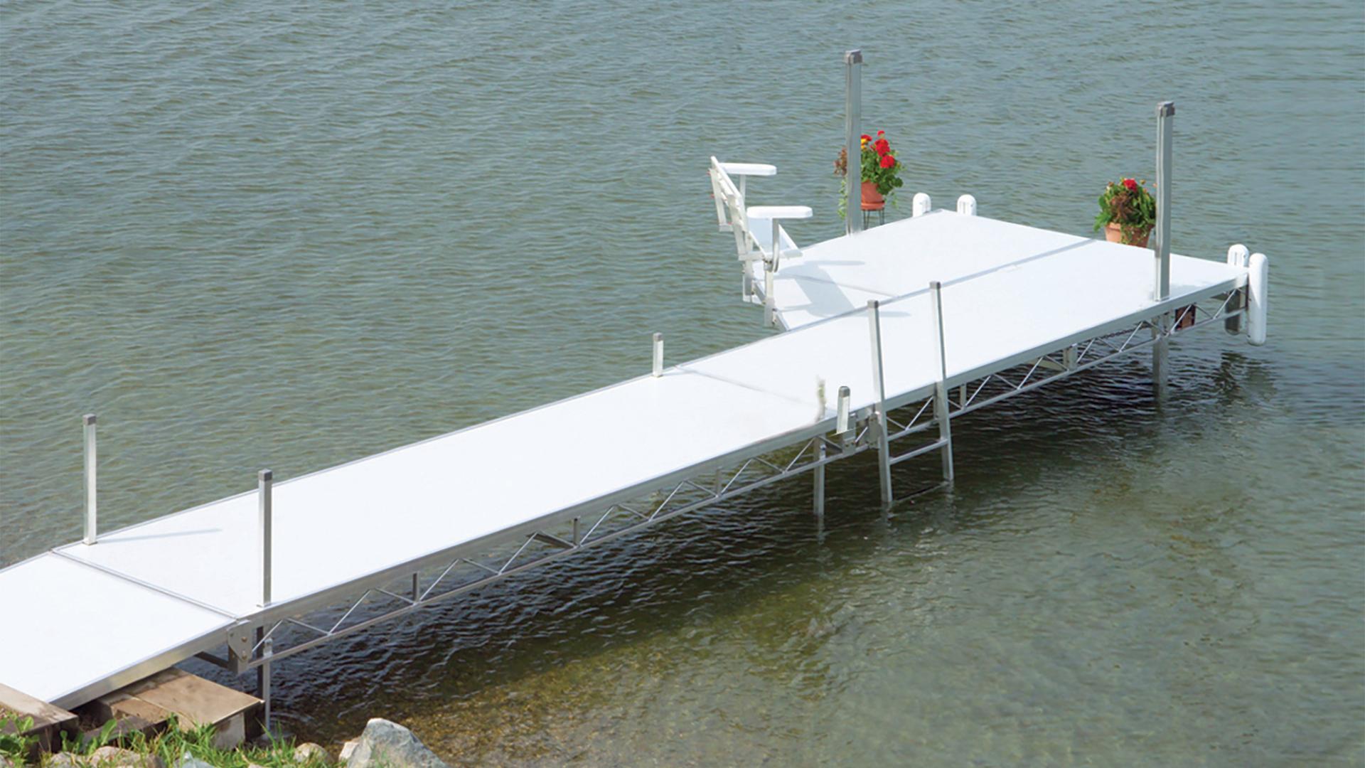 Porta-Dock AA roll-in dock on the water