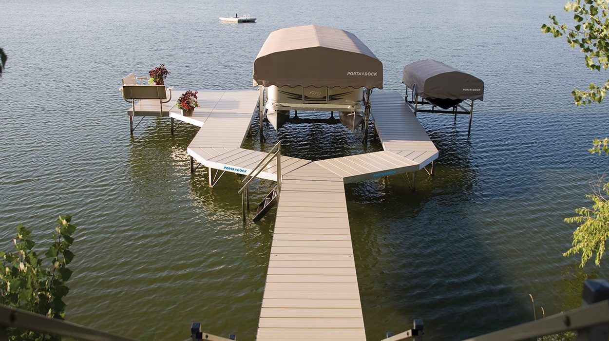 Porta-Dock Post Dock and Lifts in the lake with Canopies