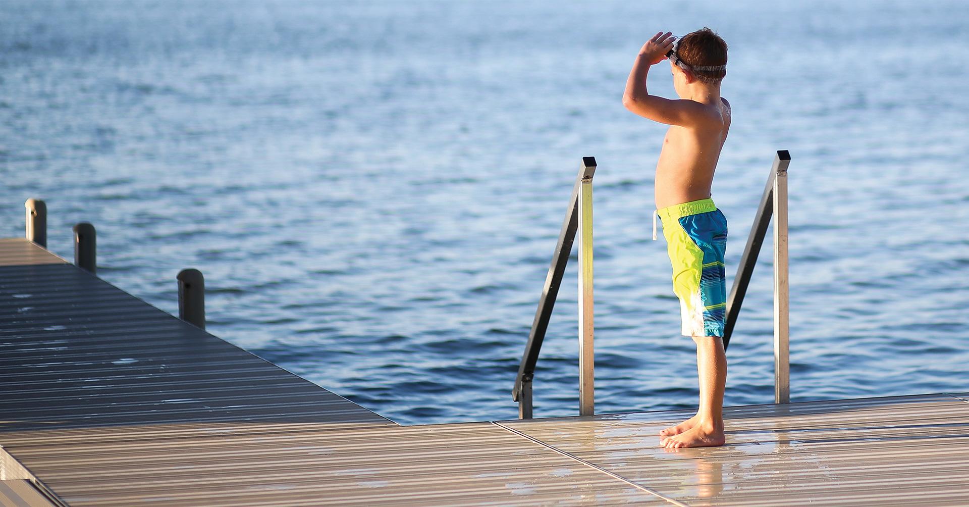 Getting ready to swim on a Porta-Dock dock