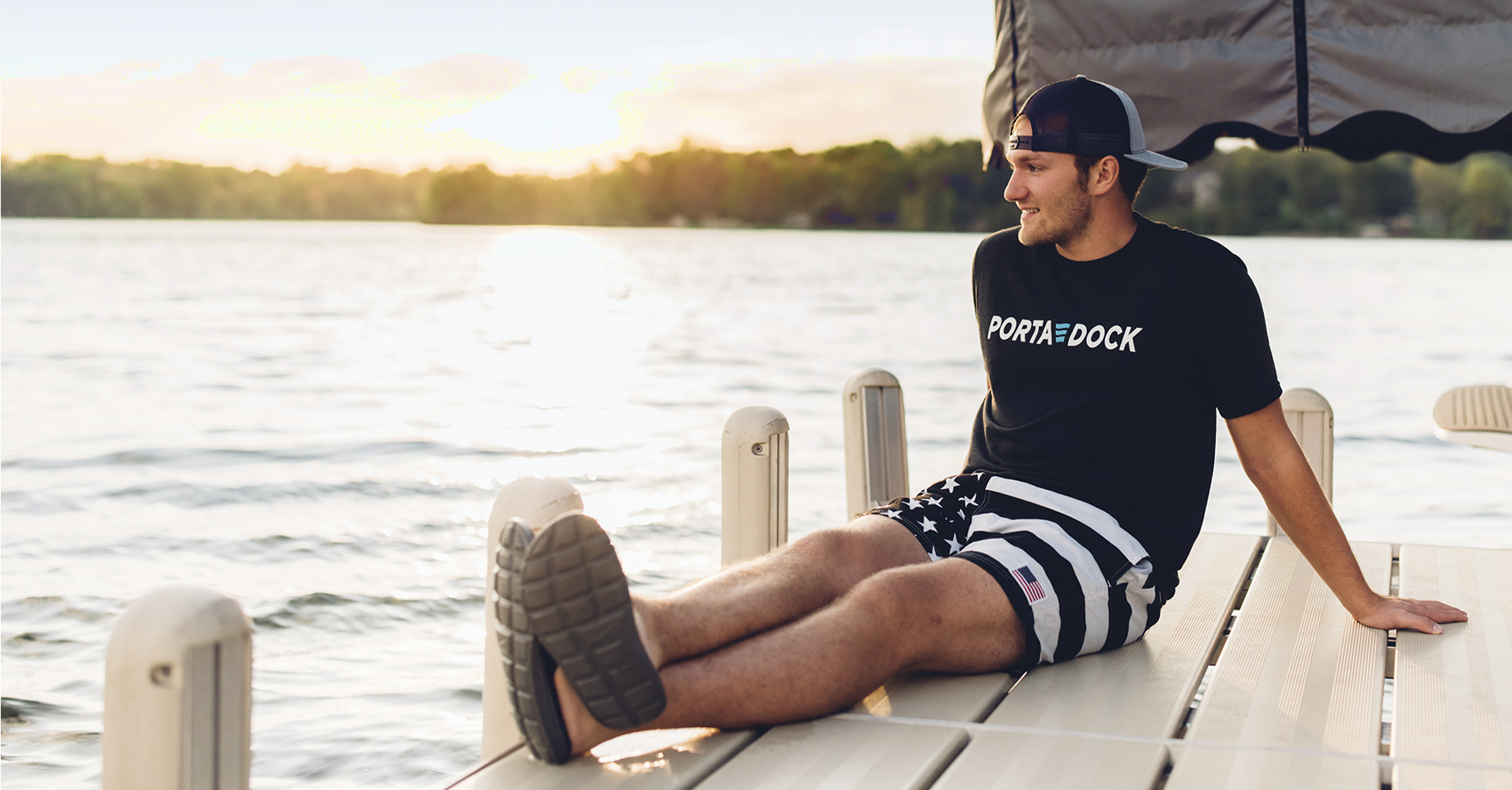 Sitting on the edge of a Porta-Dock dock on the lake