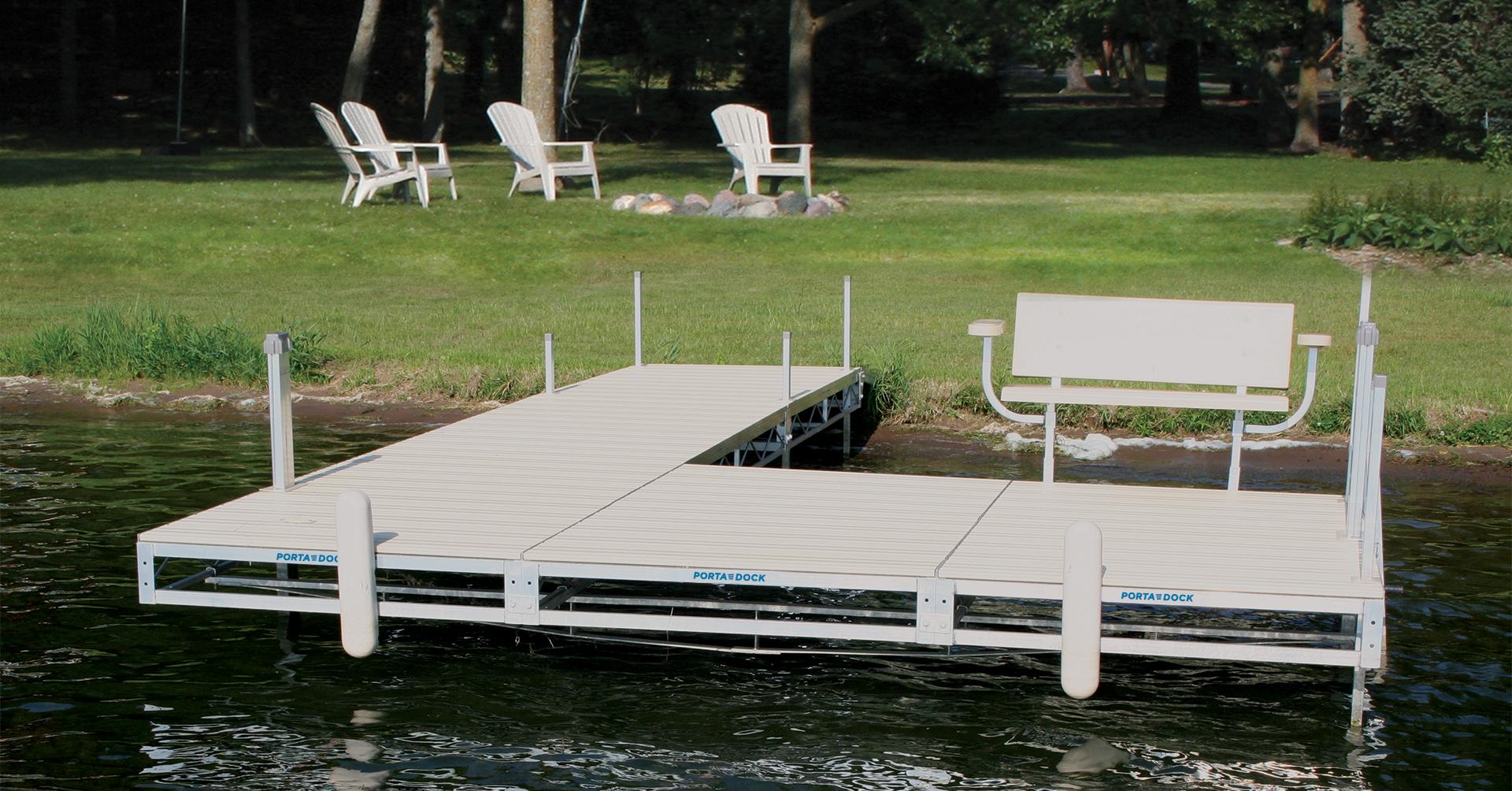 Porta-Dock roll-in dock in the water