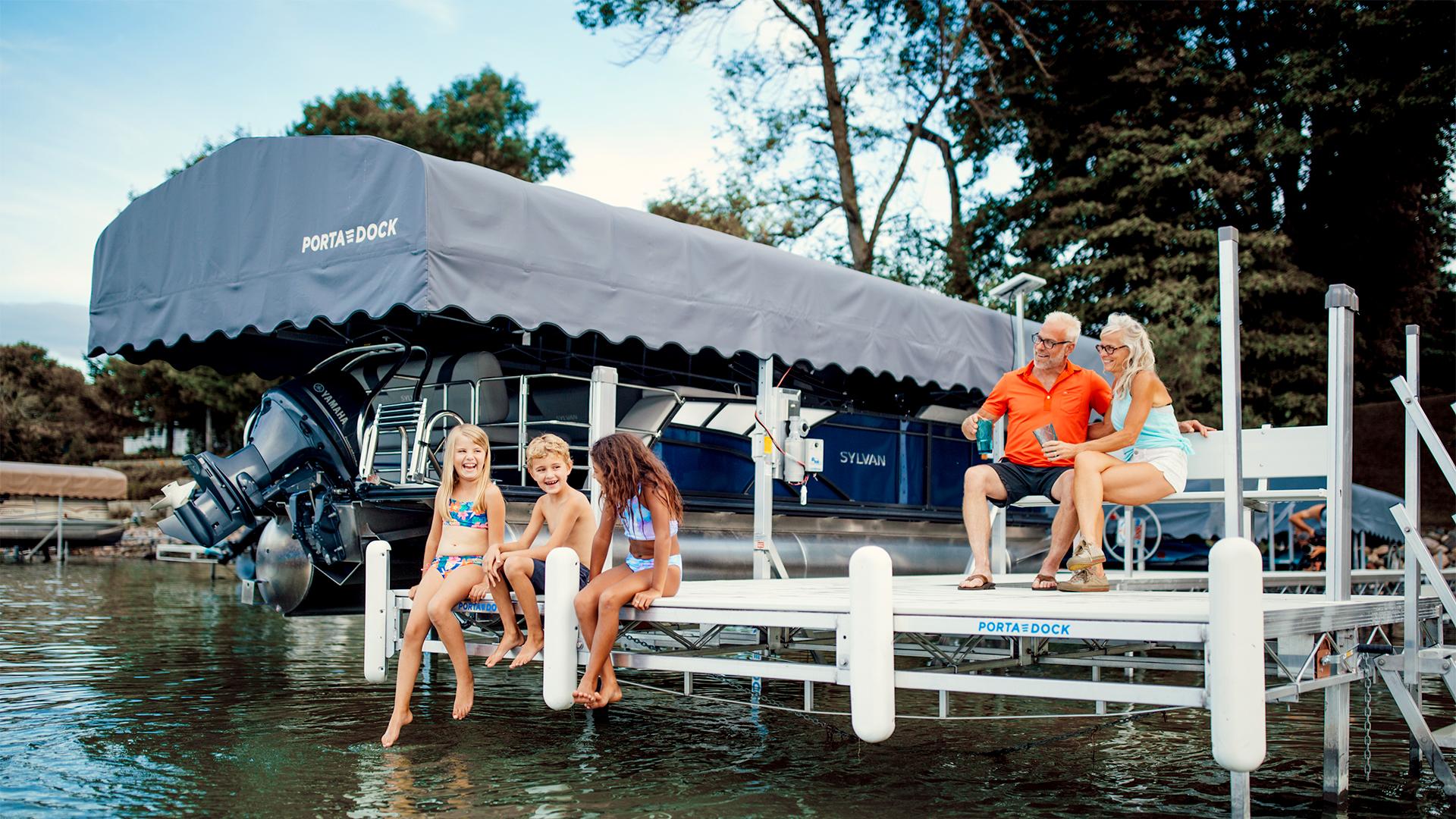Enjoying family lake time on a Porta-Dock dock
