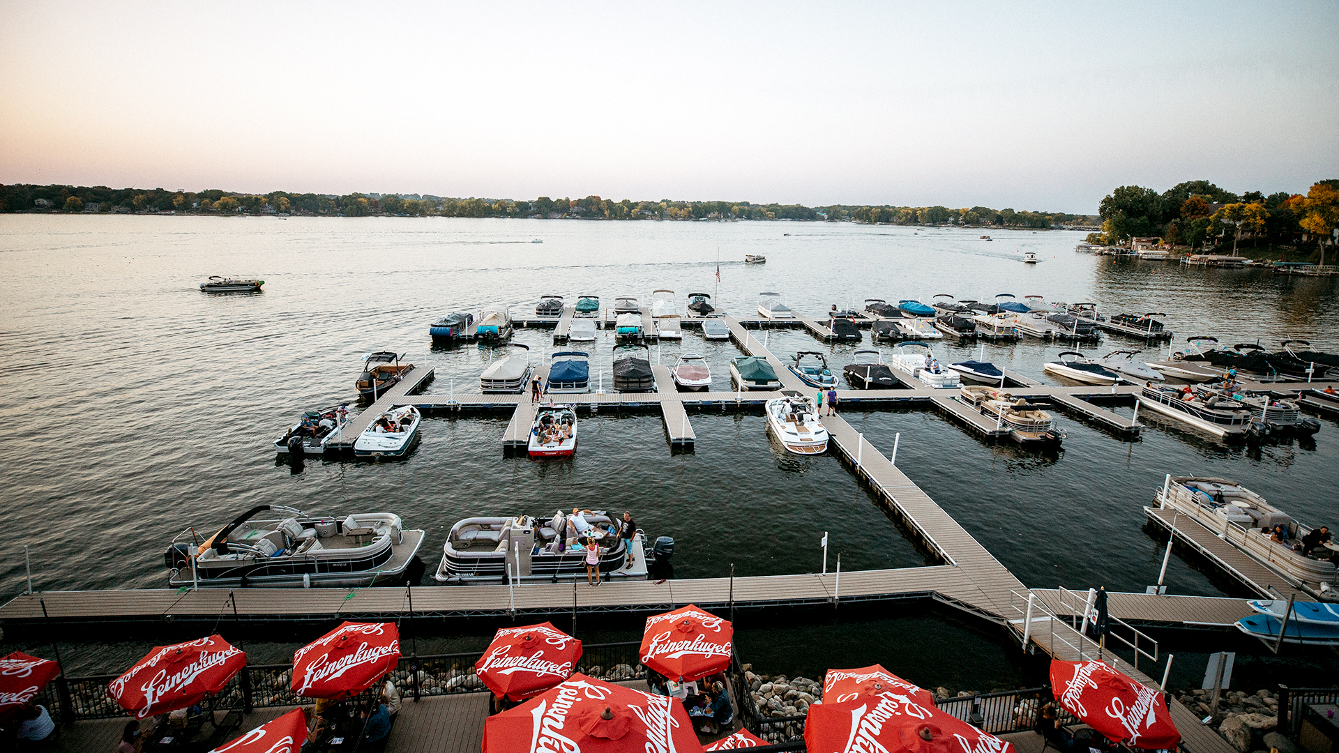 Large commercial floating dock at a lakeside restaurant