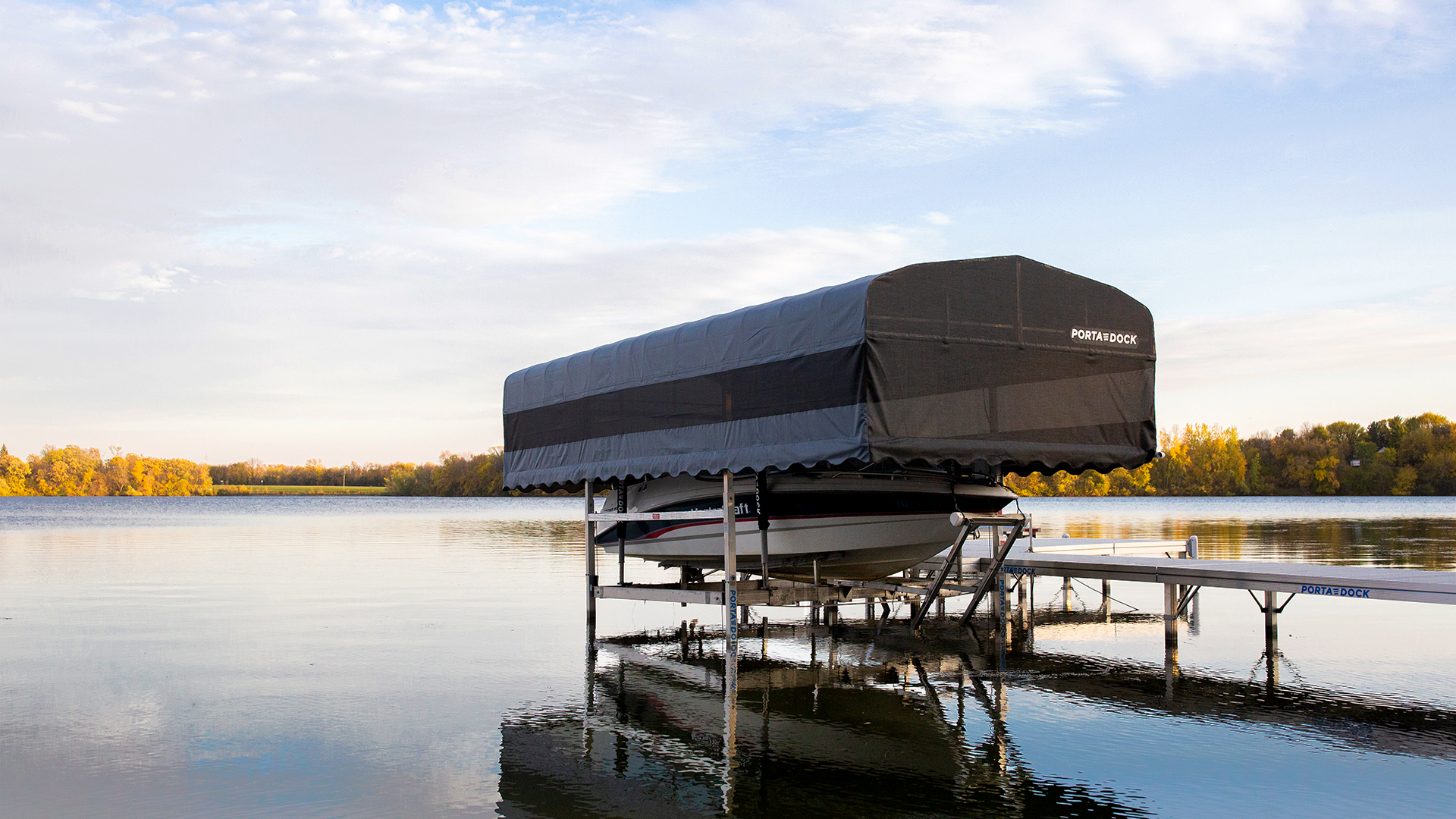 Porta-Dock boat and watercraft lifts with drop down canopy