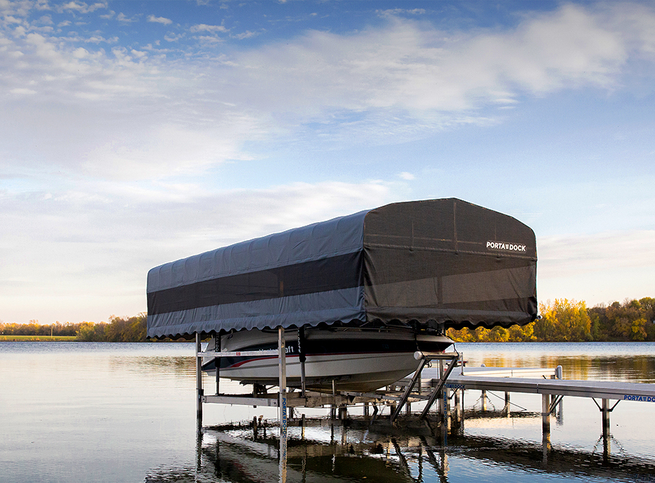 Porta-Dock Boat Lift with Drop Down Canopy